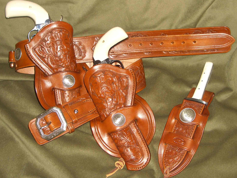Double Gunbelts - Double Cowboy leather rig and accessories